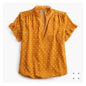 J Crew Point Sur Ruffle Top Painted Dot Sz XL